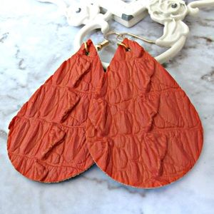 Orange gator leather earrings with golden earwires